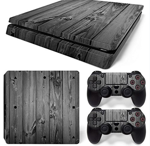 Mcbazel Pattern Series Vinyl Skin Sticker For PS4 Slim Controller & Console Protect Cover Decal Skin (Gray Wood)
