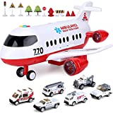 Airplane Toy, Kids Airplane Toys for 3 4 5 6 Year Old Boys Girls Toddlers, Ambulance Aircraft Vehicle Play Set with 6 Rescue Trucks