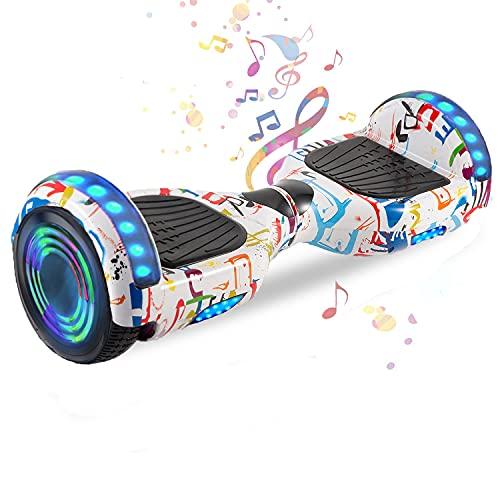 HappyBoard 6,5 Pollici Hoverboard Monopattini Elettrici Autobilanciati Scooter Elettrico Autobilanciante, Ruote da Skateboard con Luce a LED, Motore 700 W Bluetooth per Bambini e Adulti (Graffiti)