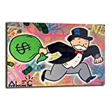 FireDeer Alec Monopoly Man Running With Money Bag Graffiti Street Art Canvas Painting Poster Prints Picture For Living Room Wall Decor Large Size (No Frame,12x18 inch)