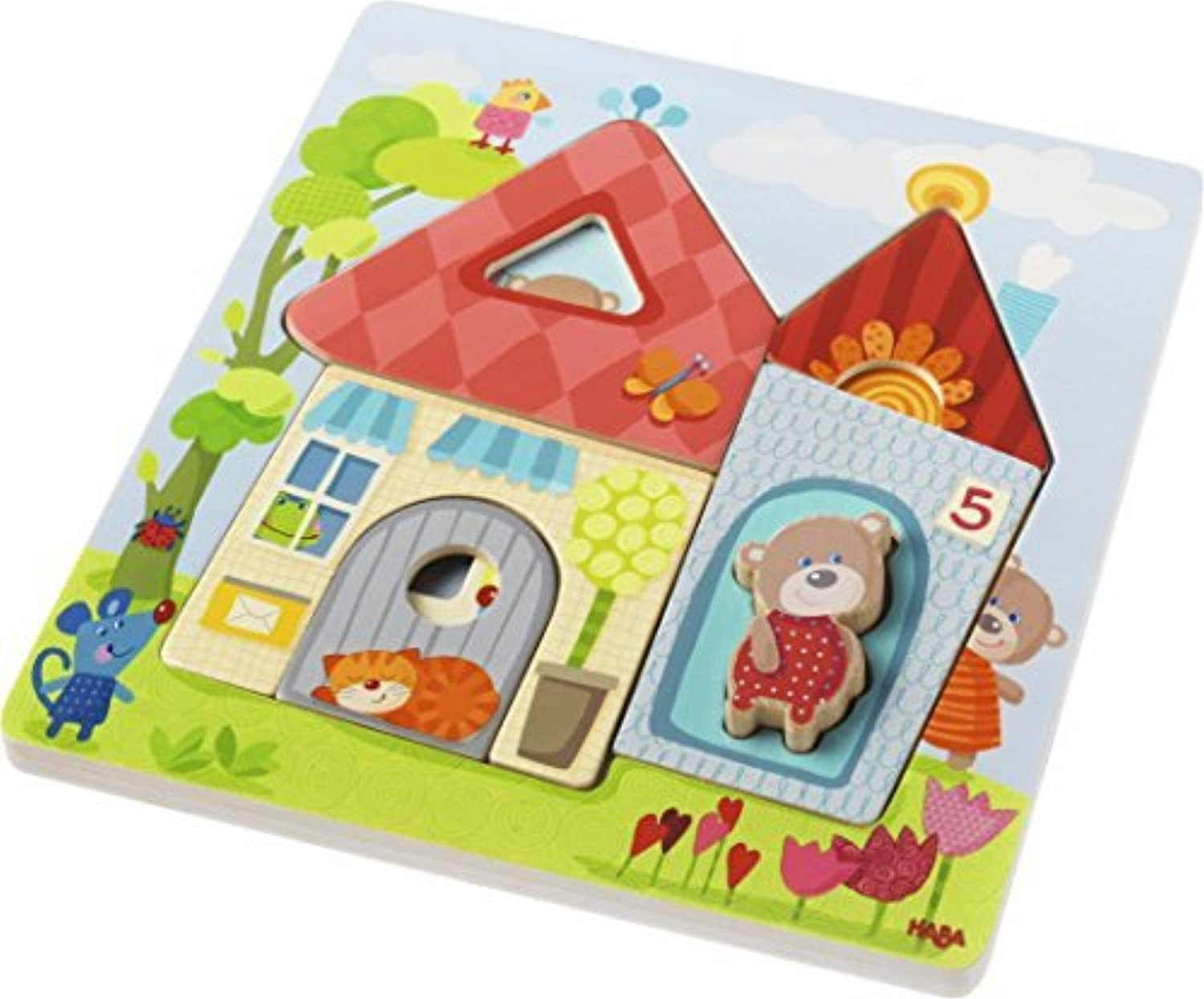 HABA Wooden Puzzle Bear House  10 Piece Layered Puzzle for Ages 18 Months and Up by HABA