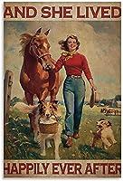 絵画 インテリア馬と犬と彼女は田舎の修復後ずっと幸せに暮らしましたキャンバスアートパネルポスターと壁アートパネル写真プリントモダンの家族の寝室の装飾ポスター 60x90cm x1 フレームレス