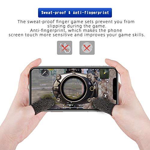 Mobile Game Controller Finger Sleeve Sets [6 Pack], Qoosea Breathable Anti-Sweat Full Touch Screen Sensitive Shoot Aim Joysticks Finger Set for PUBG/Knives Out/Rules of Survival
