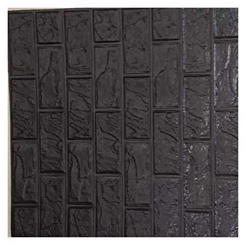 Wandaufkleber 3D Brick-Wand-Aufkleber Wallpaper Dekorative Schaum wasserdichte Wand Tuch Tapete Applikationen (Color : Black, Size : 60 X 60 X 0.85cm)