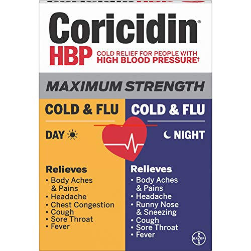Coricidin Hbp, Decongestant-free Maximum Strength Cold & Flu Day+night Liquid Gels, 24 Count