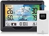 Allnice Wireless Weather Stations Indoor Outdoor Thermometer with Sensor, Temperature, Humidity, Rainfall, Barometric, Forecast, Moon Phase, Alarm Clock, LCD Digital Adjustable Backlight Home Station