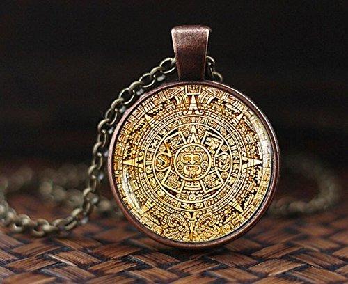 Calendario maya pedante, joyería de calendario maya, collar de calendario azteca, colgante maya, joyería maya, colgante de cúpula de cristal, collar para hombre