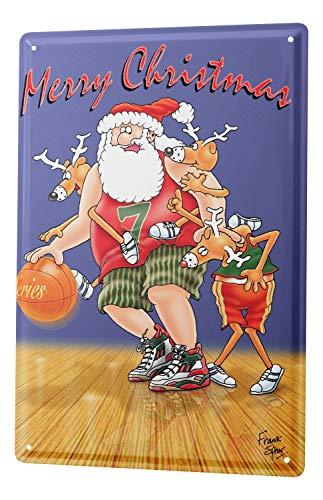 LEotiE SINCE 2004 Blechschild Wandschild 30x40 cm Vintage Retro Metallschild Weihnacht Retro Basketball