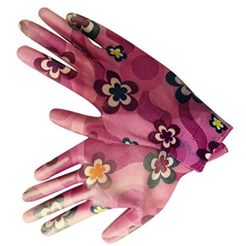 GXDFHST Guantes Transpirable jardinería impresión de la Flor de Nylon de la PU de Las Mujeres no se Deslizan Color al Azar Las tareas del hogar Limpieza (Color : D)
