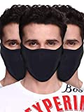 PrimeBox Half Face Cover Face Mask For Bike Riding, Sports, and other outdoor activity Combo Set of 3pcs Black Reusable Soft Cotton Fabric'Proper size as per Images'