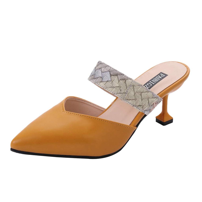 青写真四分円中断[レディース シューズ] Feteso スリッパ ファッション ハイヒール 無地 靴 通勤 滑り止め 春夏秋 美脚 きれいめ レジャー パーティー 人気 2019 新品 Fashion Shoes Women Shoes