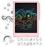 Hamdol Doodle Board 10 Inch Gifts for 3-7 Year Old Girls Boys, Colorful LCD Writing Tablet Erasable and Reusable Drawing Board with Magnet Pieces, Eye Protection Educational and Learning Toys (Pink)