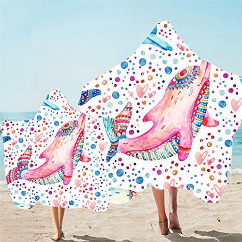 Toalla de Playa con Capucha Para Padres e Hijos Toalla de Baño Secado Rápido Bata de Baño Para Familiar,Patrón de Dibujos Animados El Mundo Submarino Vida Marina (Color 2,Niño 130X150cm)