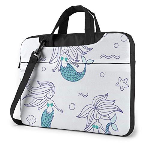 15.6″Durable Hombro Mensajero Bolsa maletín PC Nueva Sirena Pintada Moda Impermeable Ordenador Portátil/portátil/Tablets
