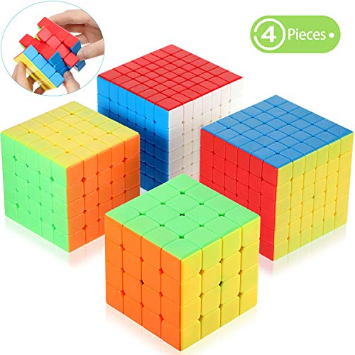 4 Pieces Stickerless Speed Cube Set Magic 4x4 5x5 6x6 7x7 Stickerless Speed Cube Puzzles Toys Collection