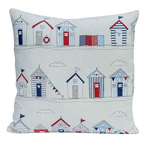Beach Hut Cushion Cover - 17' x 17' Square Decorative Scatter Pillow in Nautical Red/Blue.