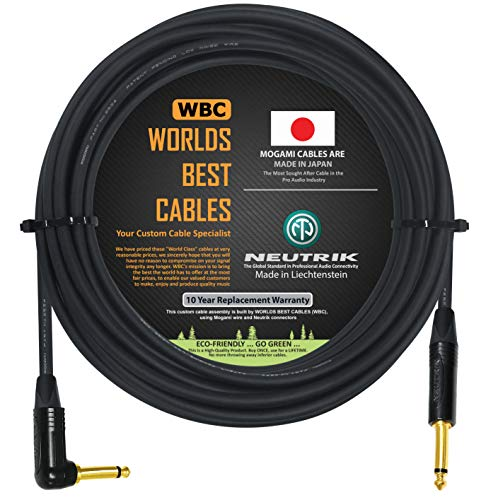 20 Foot - Guitar Bass Instrument Cable Custom Made by WORLDS BEST CABLES – Using Mogami 2524 Wire and Neutrik NP2RX-B & NP2X-B ¼ Inch (6.35mm) Gold TS Connectors