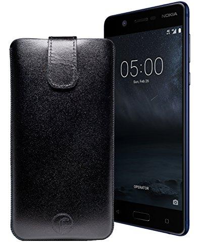 Original Favory Etui Tasche für Nokia 5   Leder Etui Handytasche Ledertasche Schutzhülle Hülle Hülle Lasche mit Rückzugfunktion* in schwarz