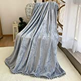 FANSIY Flannel Throw Blanket with Pompom Tassel Cozy Bed Blanket Soft Blanket for Couch Sofa Home Decor(Blue Grey,51x63)