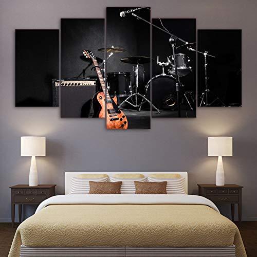 GIAOGE schilderij canvas HD gedrukte foto's wooncultuur 5 stuks muziek gitaar trommel instrumenten band schilderijen modulaire muurkunst poster frame No Frame 40 x 60, 40 x 80, 40 x 100 cm.