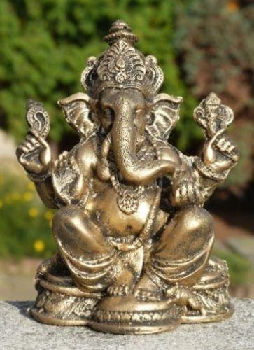 schöner Ganesha Gold Elefantengott Resin Garten Feng Shui Res14