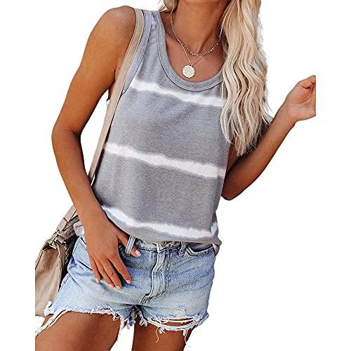 Shirt Mujer Camiseta Sin Mangas Mujer Linda Citas Moda Cuello Redondo A Rayas Top Sin Mangas Vacaciones Verano Casual Suelto Cómodo Mujer Tops Mujer Camisas B-Grey M