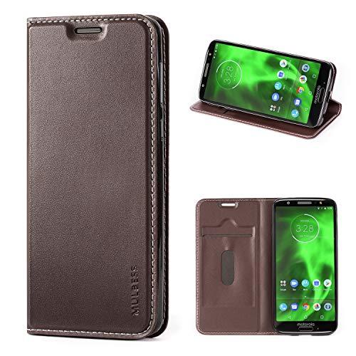 Mulbess Handyhülle für Motorola Moto G6 Hülle Leder, Motorola Moto G6 Handytasche, Flip Schutzhülle für Motorola Moto G6 Hülle, Kaffee Braun