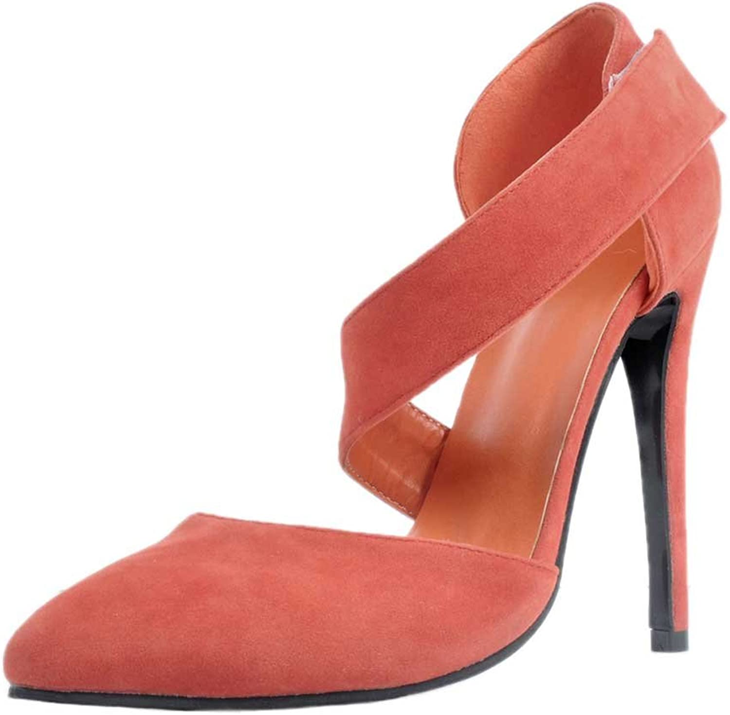 A-BUYBEA Women's Pointed Toe High Heel Cross-Strap Velcro Suede Sandal shoes
