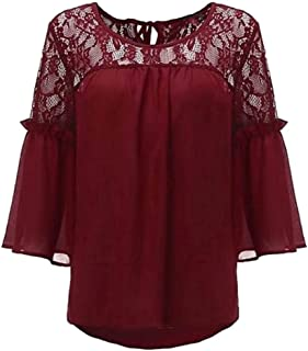 CRYYU Womens Lace Stitching Trumpet Sleeves Stitching Plus Size Chiffon Blouse Shirt Top