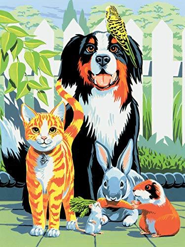 Ha9Ddh1t digitale schilderij om zelf te maken van acryl, zonder lijst op doek, kat en hond, olieschilderij, om zelf te maken op canvas, thuisdecoratie, 30 x 40 cm