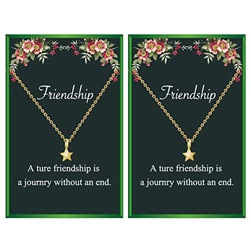 Friendship Necklace for 2 Compass Butterfly Star Necklace Gift for Women Girls Friend (star necklace)