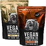 nu3 Proteína Vegana 3K – 1kg vainilla + 1kg chocolate – min. 70% de proteína a base de 3 componentes vegetales – Proteínas para el crecimiento de la masa muscular con delicioso sabor vainilla y cacao