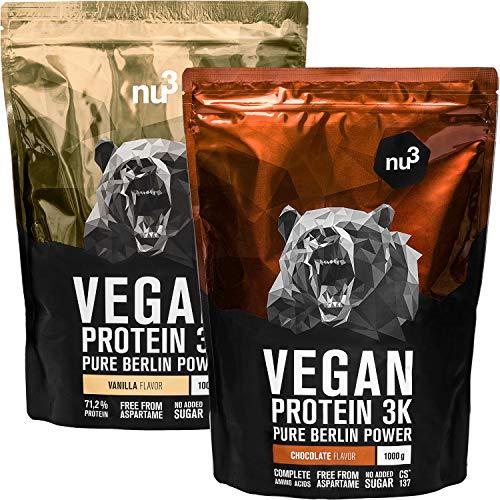 nu3 Proteína Vegana 3K – 1kg vainilla + 1kg chocolate – min. 70% de proteína a base de 3 componentes vegetales – Proteínas para el crecimiento de la masa muscular con delicioso sabor vainilla y cacao 🔥