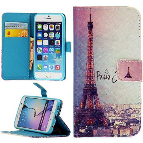 Handy Lux® Schutz Hülle Tasche Kartenfächer Flip Hülle Etui Cover Involto Motiv Design Hülle BookStyle für Huawei P8 Lite (Modell 2015), Eiffelturm Paris Bunt
