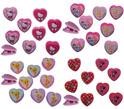 alles-meine.de GmbH 8 TLG. Set Haarclips - Hello Kitty + Minnie Mouse + Princess + Tinkerbell - für Kinder Mädchen Schmuck Haarschmuck - Haarspangen Katze rosa Haarspange