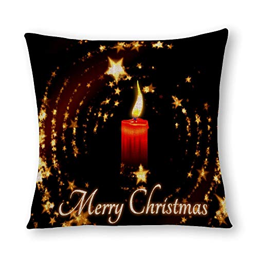 perfecone Home Improvement Cotton Pillowcase Double Merry Christmas Candle Stars Illustration Sofa and car Pillow case 1 Pack 15.7 x 15.7 inches/40 cm x 40 cm