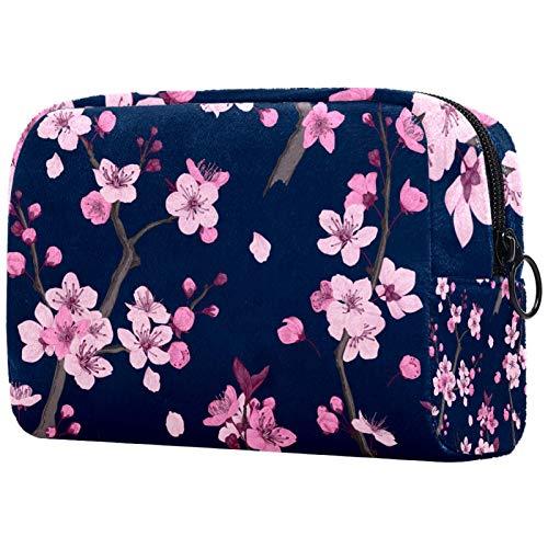 Borse per il trucco Custodia multifunzione per organizer per cosmetici da viaggio portatile Cakura Seamless Pattern Rosa SAKURA RAMI con borse da toilette con cerniera per donna