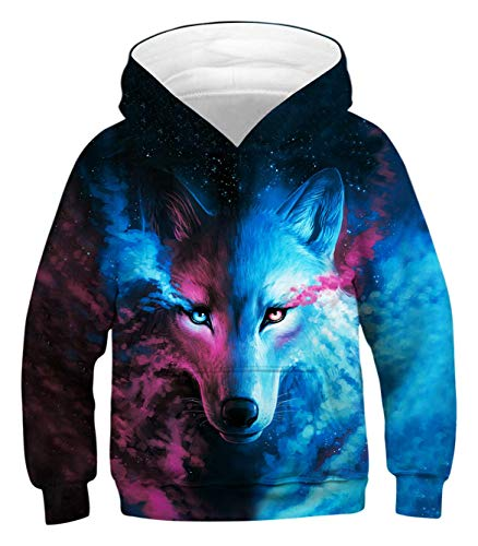 AEOPES Unisex Sweater Kids 3D Print Graphic Pullover Hoodie Sweatshirts Pocket for 3-14T Wolf M