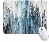 Dekoratives Gaming-Mauspad,Buntes blaues und weißes abstraktes Gemälde auf Leinwand Navy,Bürocomputer-Mausmatte mit rutschfester Gummibasis