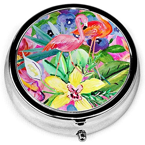Flamingos Ink Painting Custom Fashion Round Pill Box Compact 3 Space Tablet Holder