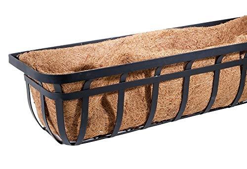 "Panacea Flat Iron Series Planter Boxes, Black, 30"" L, 4 Pack"