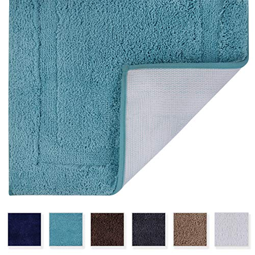 TOMORO Microfibers Non-Slip Bathroom Rug - Quick Dry, Super Absorbent and Soft Luxury Hotel Door Carpet Shower Shaggy Bath Mat Waterproof TPR Non-Skid Backing 24 x 39 inch Teal