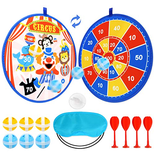 Circus Dart Board for Kids with 6 Sticky Balls and 4 Sticky Dart Double-Sided(13.9 inches),Blindfold Indoor Game ,Carnival Dart Board Set with Hook for Boys Girls Children and Family Time