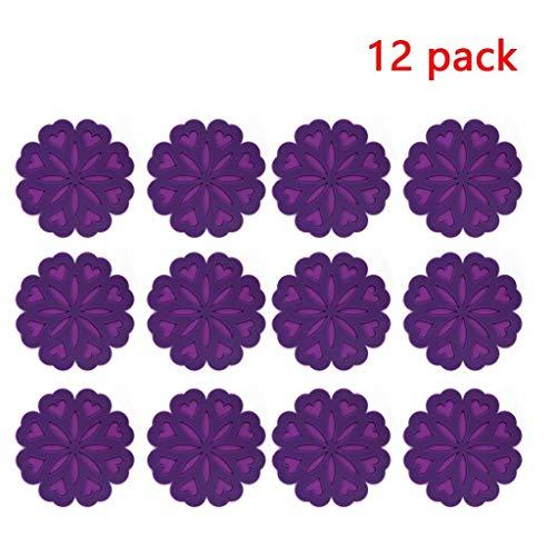 Topfuntersetzer/Topfuntersetzer Topflappen Topfuntersetzer Mat Potholder Hot Pad Löffelhalter Deckelöffner Coaster Trocknen Mat 12 pack (Color : Purple)