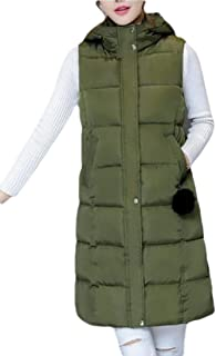 Womens Mid-Length Hooded Quilted Puffer Vest Sleeveless Winter Coat Jacket