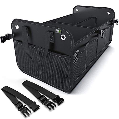 MIU COLOR Car Trunk Organizer for SUV, Collapsible Trunk Storage Organizer, Securing Straps, Non Slip Bottom(Black)