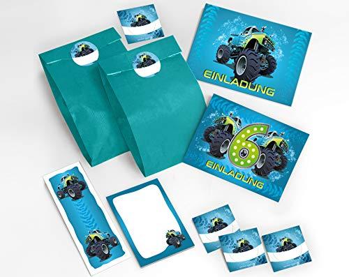 JuNa-Experten 12 Einladungskarten 6. Geburtstag Kinder Junge Jungs Monster-Truck / Auto incl. 12 Umschläge, 12 Tüten / blau, 12 Aufkleber, 12 Lesezeichen, 12 Notizblöcke