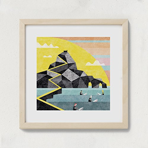 Mooneki Lámina Poster Decorativo Basq Surf Gaztelugatxe 30x30. Diseño Exclusivo, de Autor. Estilo Moderno, nórdico, contemporáneo.