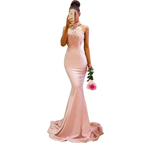 4bfc512df7eb Chady Pink High Neck Mermaid Lace Prom Dresses 2018 Long Backless  Bridesmaid Dresses Evening Gowns for
