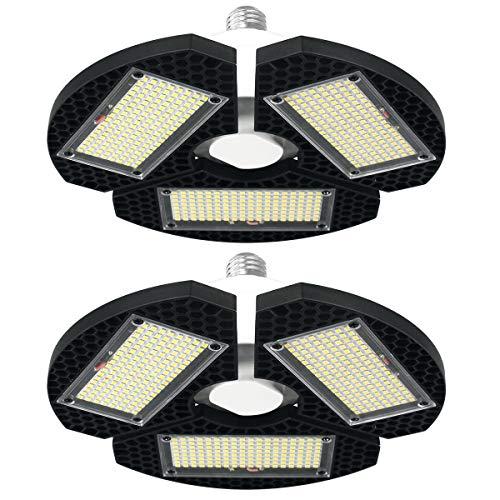 2 Pack LED Garage Lights, Super Bright 7500LM 60W LED Garage Lighting with 3 Adjustable Panels, 6000K Trilight Garage Ceiling Light, LED Garage Light Bulb for Garage, Basement, No Motion